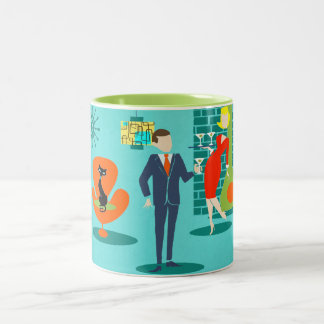 Retro Space Age Cartoon Couple Coffee Mug