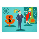 Retro Space Age Cartoon Couple Greeting Card