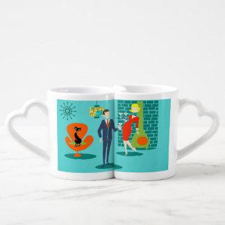 Retro Space Age Cartoon Couple Lovers' Mugs Couples' Coffee Mug Set