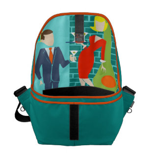 Retro Space Age Cartoon Couple Messenger Bag