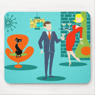 Retro Space Age Cartoon Couple Mousepad