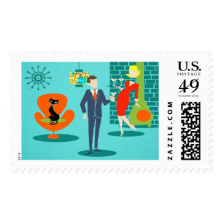 Retro Space Age Cartoon Couple Postage Stamp