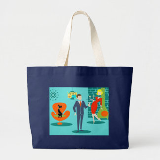 Retro Space Age Cartoon Couple Tote Bag