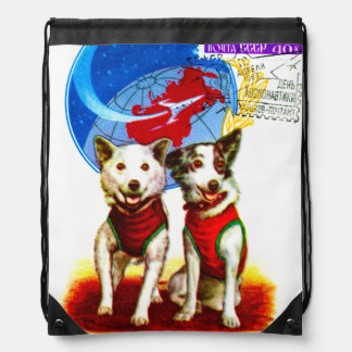 RETRO SPACE AGE (CCCP ASTRONAUT DOGS DESIGN) DRAWSTRING BACKPACK