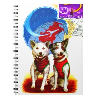 RETRO SPACE AGE (DOG ASTRONAUTS CCCP DESIGN) SPIRAL NOTEBOOK