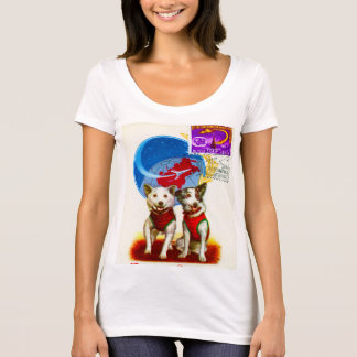 RETRO SPACE AGE (DOG ASTRONAUTS) Poly-Cotton Scoop T-Shirt