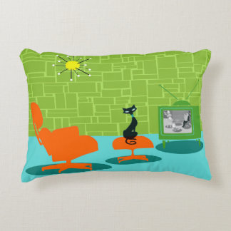 Retro Space Age Kitty Accent Pillow