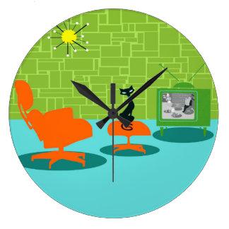 Retro Space Age Kitty Acrylic Wall Clock