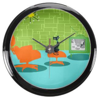 Retro Space Age Kitty Aqua Clock