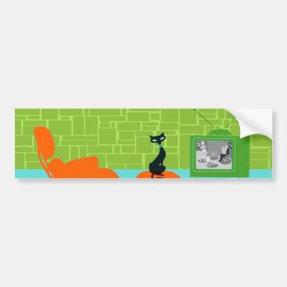 Retro Space Age Kitty Bumper Sticker