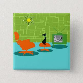 Retro Space Age Kitty Button