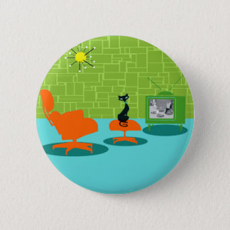 Retro Space Age Kitty Button