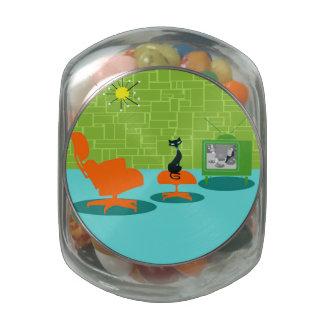 Retro Space Age Kitty Candy Jar Glass Candy Jar