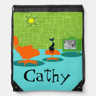 Retro Space Age Kitty Drawstring Backpack