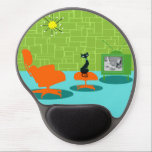 "Retro Space Age Kitty Gel Mousepad<br><div class=""desc"">It is said that dogs have owners and cats have staff. The feline on this Retro Space Age Kitty Gel Mousepad couldn&#39;t agree more! The 1960&#39;s style, minimalist art design features a sleek, black cat in a mid century modern living room. The sophisticated room prominently features a green, stone wall....</div>"
