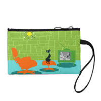 Retro Space Age Kitty Key Coin Clutch