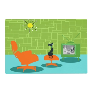 Retro Space Age Kitty Laminated Placemat at Zazzle