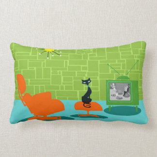 Retro Space Age Kitty Lumbar Pillow