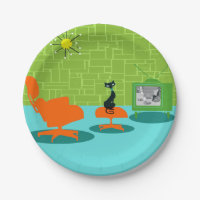 Retro Space Age Kitty Paper Plate