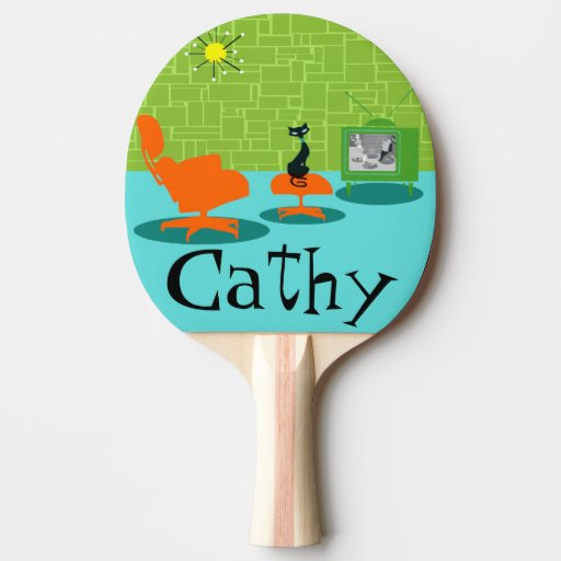 Retro space age kitty ping pong paddle zazzle - How much space for a ping pong table ...