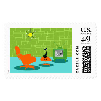 Retro Space Age Kitty Postage Stamps