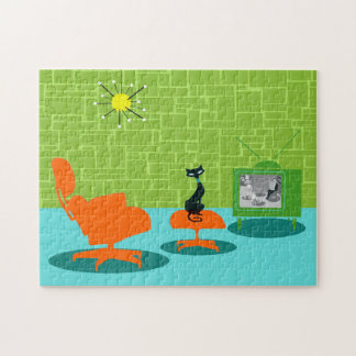 Retro Space Age Kitty Puzzle