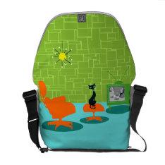 Retro Space Age Kitty Rickshaw Messenger Bag at Zazzle