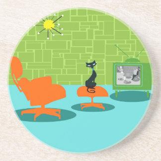 Retro Space Age Kitty Sandstone Drink Coaster