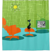 Retro Space Age Kitty Shower Curtain