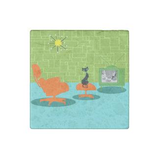 Retro Space Age Kitty Stone Magnet