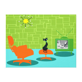 Retro Space Age Kitty Stretched Canvas Print