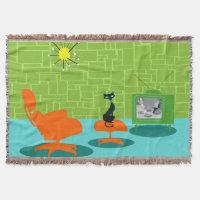Retro Space Age Kitty Throw Blanket