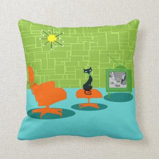 Retro Space Age Kitty Throw Pillow