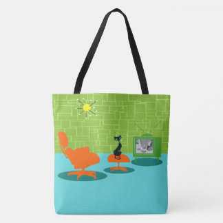 Retro Space Age Kitty Tote Bag