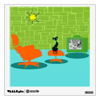 Retro Space Age Kitty Wall Decal