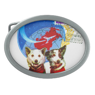 RETRO SPACE AGE (USSR ASTRONAUT DOGS DESIGN) OVAL BELT BUCKLE