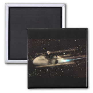 Retro Space cruiser  - THE RACE 2 Inch Square Magnet