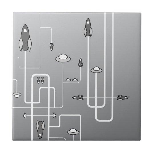 Retro Space Flight Ceramic Tile