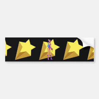 Retro Space Girl Colored Bumper Sticker