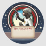 Retro Space Girl Name Tag Stickers