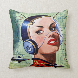 Retro Space Lady Pillow