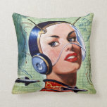 Retro Space Lady Pillow
