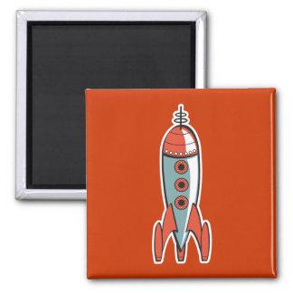 retro space rocket 2 inch square magnet