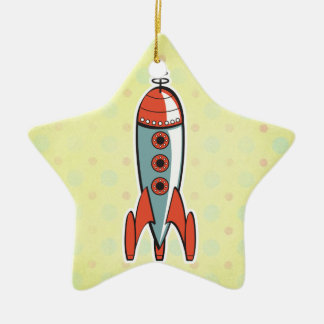 retro space rocket ceramic ornament