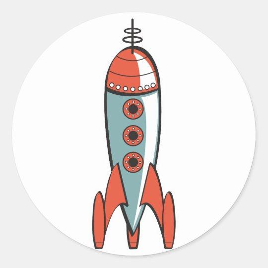retro space rocket classic round sticker