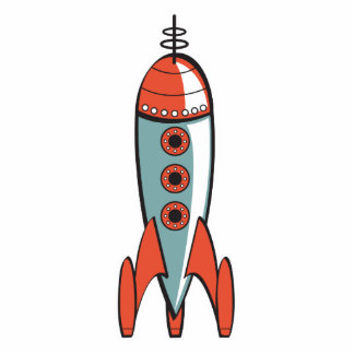 retro space rocket cutout