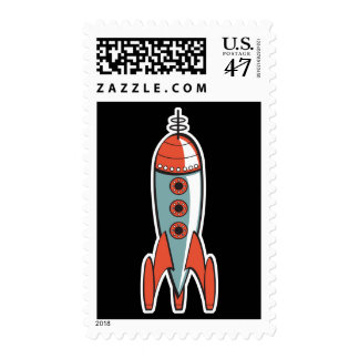 retro space rocket postage