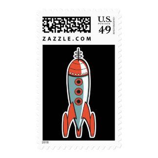 retro space rocket postage stamp