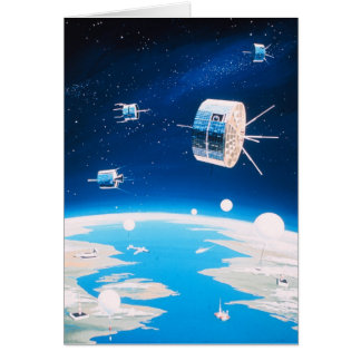 Retro space rocket satellite vintage illustration card