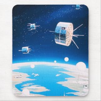 Retro space rocket satellite vintage illustration mouse pad